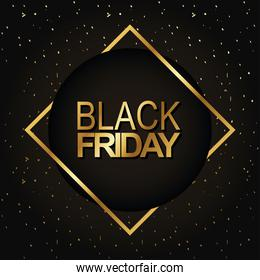 black friday lettering golden in diamond frame