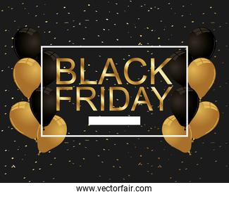 black friday lettering golden and balloons helium