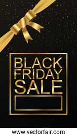 black friday sale lettering golden with ribbon