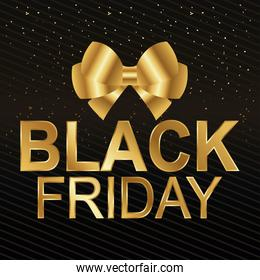 black friday lettering golden and bowtie ribbon