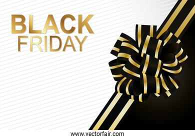 black friday lettering golden with tape decoration