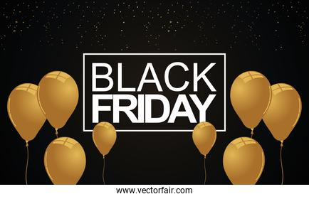 black friday lettering white with golden balloons helium