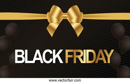 black friday lettering white and golden with bowtie ribbon