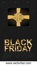 black friday lettering golden with giftbox