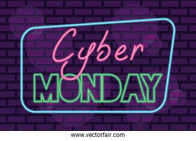 cyber monday neon square label