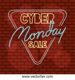cyber monday sale neon triangle label