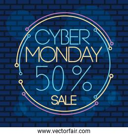 cyber monday neon circular label with fifty percent