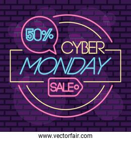cyber monday sale neon circular label with tag