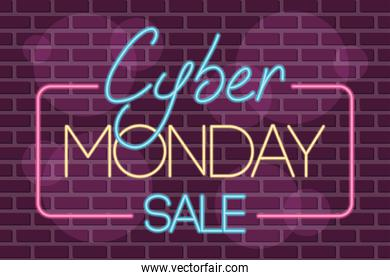 cyber monday sale neon square label