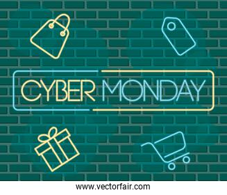 cyber monday neon label in green wall