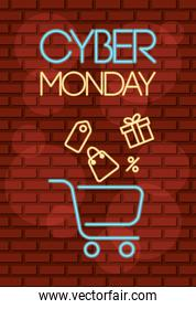 cyber monday neon label with shopping cart and gifts