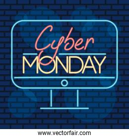 cyber monday neon label in desktop