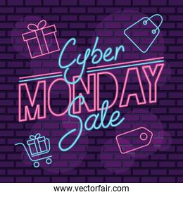 cyber monday neon label with set icons in purple wall