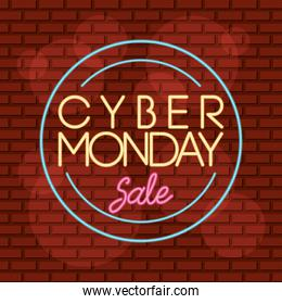 cyber monday sale neon circular label in wall
