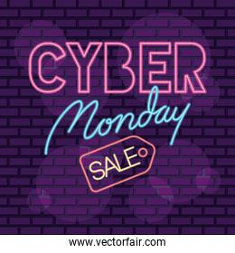 cyber monday neon label with tag