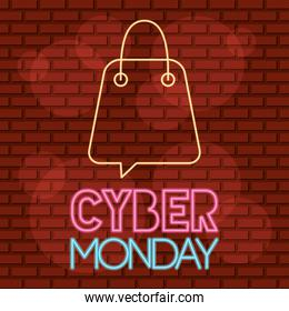 cyber monday neon label with shopping bag