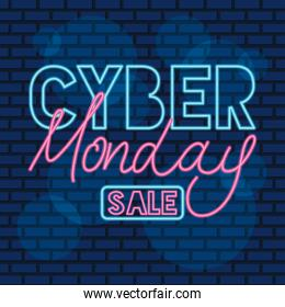 cyber monday neon label in blue wall