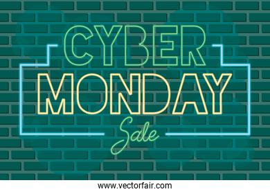 cyber monday sale neon label in green wall