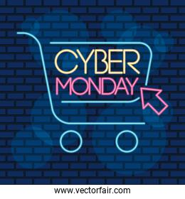 cyber monday neon label with shopping cart and mouse arrow