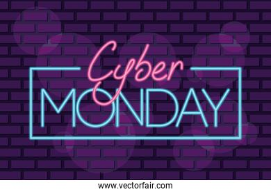 cyber monday neon square label in purple wall
