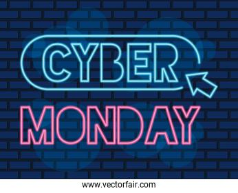 cyber monday neon label with mouse arrow in blue wall