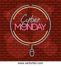 cyber monday neon circular label with mouse