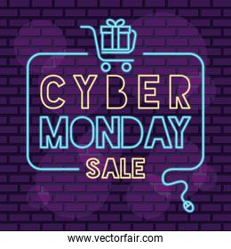 cyber monday neon square label with gift and shopping cart