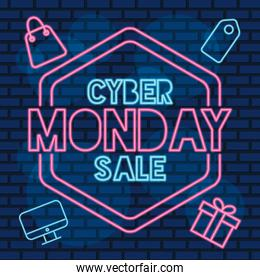 cyber monday sale neon label with set icons