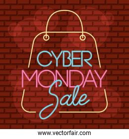 cyber monday neon label in shopping bag
