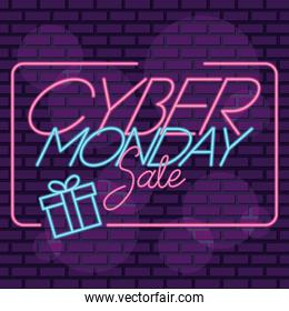 cyber monday sale neon square label with gift