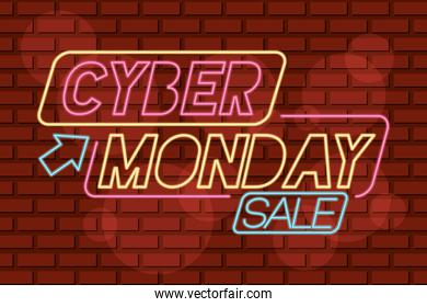 cyber monday neon label with mouse arrow in red wall