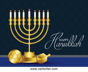 happy hanukkah celebration card with golden chandelier and coin