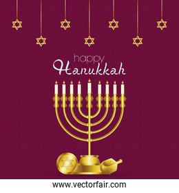 happy hanukkah celebration card with golden chandelier and stars hanging