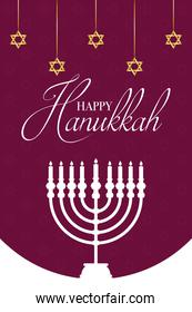 happy hanukkah celebration card with chandelier and golden stars hanging