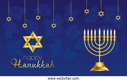 happy hanukkah celebration card with golden chandelier and star