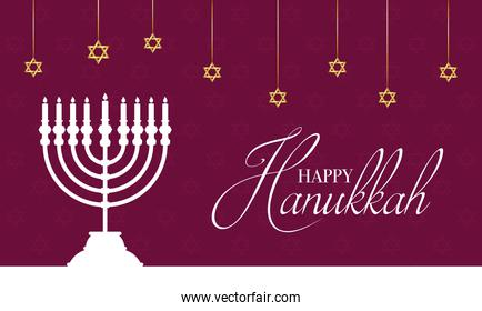 happy hanukkah celebration card with chandelier and stars