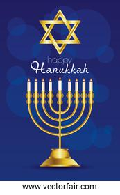 happy hanukkah celebration card with golden star and chandelier