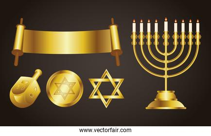 happy hanukkah celebration card with golden set icons and lettering
