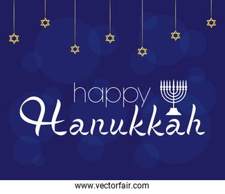 happy hanukkah celebration with chandelier and stars hanging in blue background