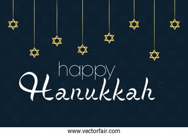 happy hanukkah celebration card with stars hanging in black background