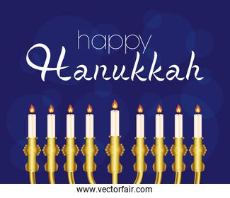 happy hanukkah celebration card with candles in golden chandelier