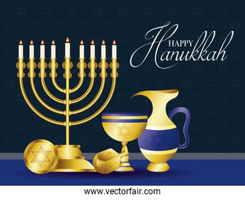 happy hanukkah celebration card with golden chandelier and set icons