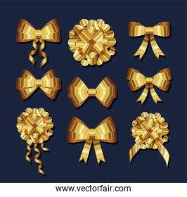 set of golden bows with a knots and ribbons