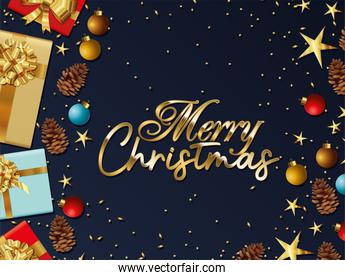 merry christmas lettering with gifts boxes, stars and balls