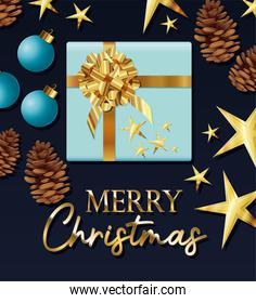 gift box of blue color with merry christmas lettering