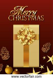 gift box of golden color with merry christmas lettering