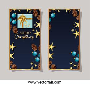 set of christmas frames with one gift box, pines and stars