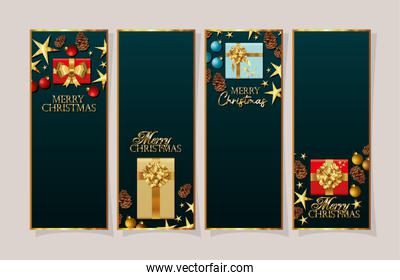 set of christmas frames with gifts boxes