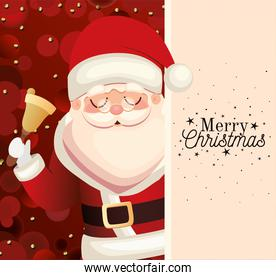 santa claus with merry christmas lettering and bell