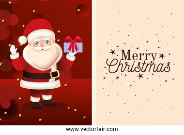 santa claus icon with merry christmas lettering and gift box